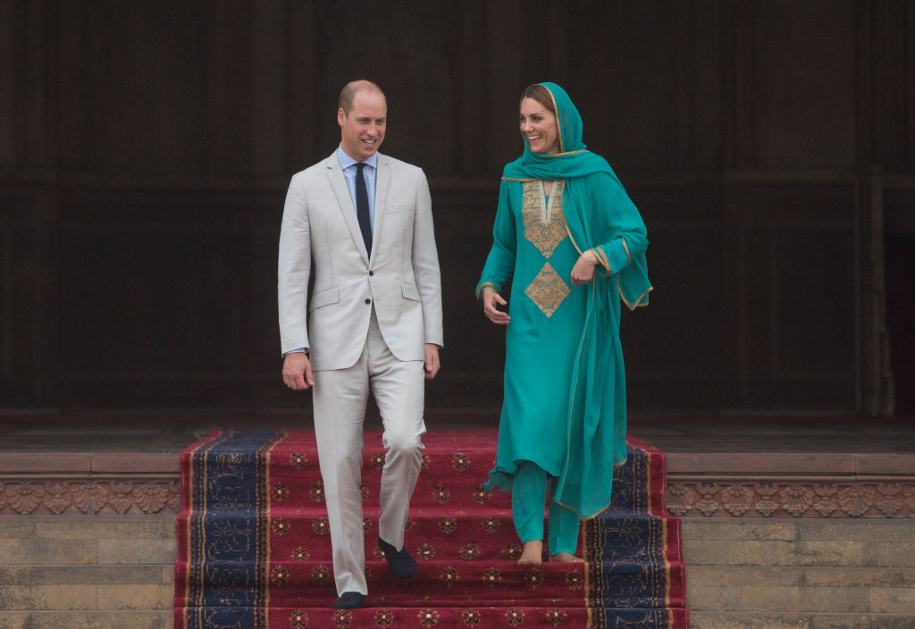 Prince William, Duke of Cambridge and Catherine, Duchess of Cambridge visit the Badshahi Mosque on Oct. 17, 2019 in Lahore, Pakistan. Their Royal Highnesses The Duke and Duchess of Cambridge are on a visit of Pakistan between 14-18th Oct. at the request of the Foreign and Commonwealth Office.