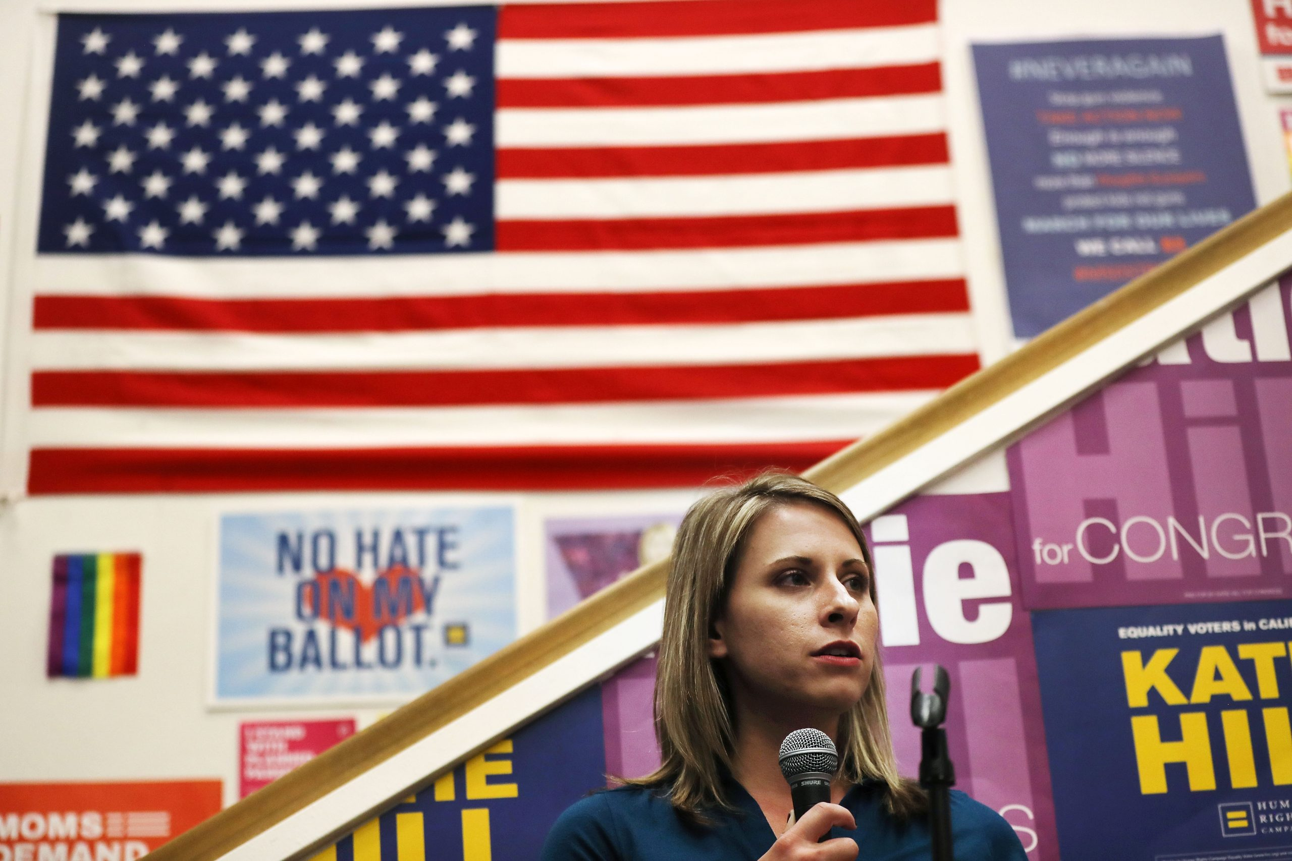 Then-Democratic Congressional candidate Katie Hill speaks to supporters at a canvass launch on Nov. 5, 2018 in Stevenson Ranch, California.