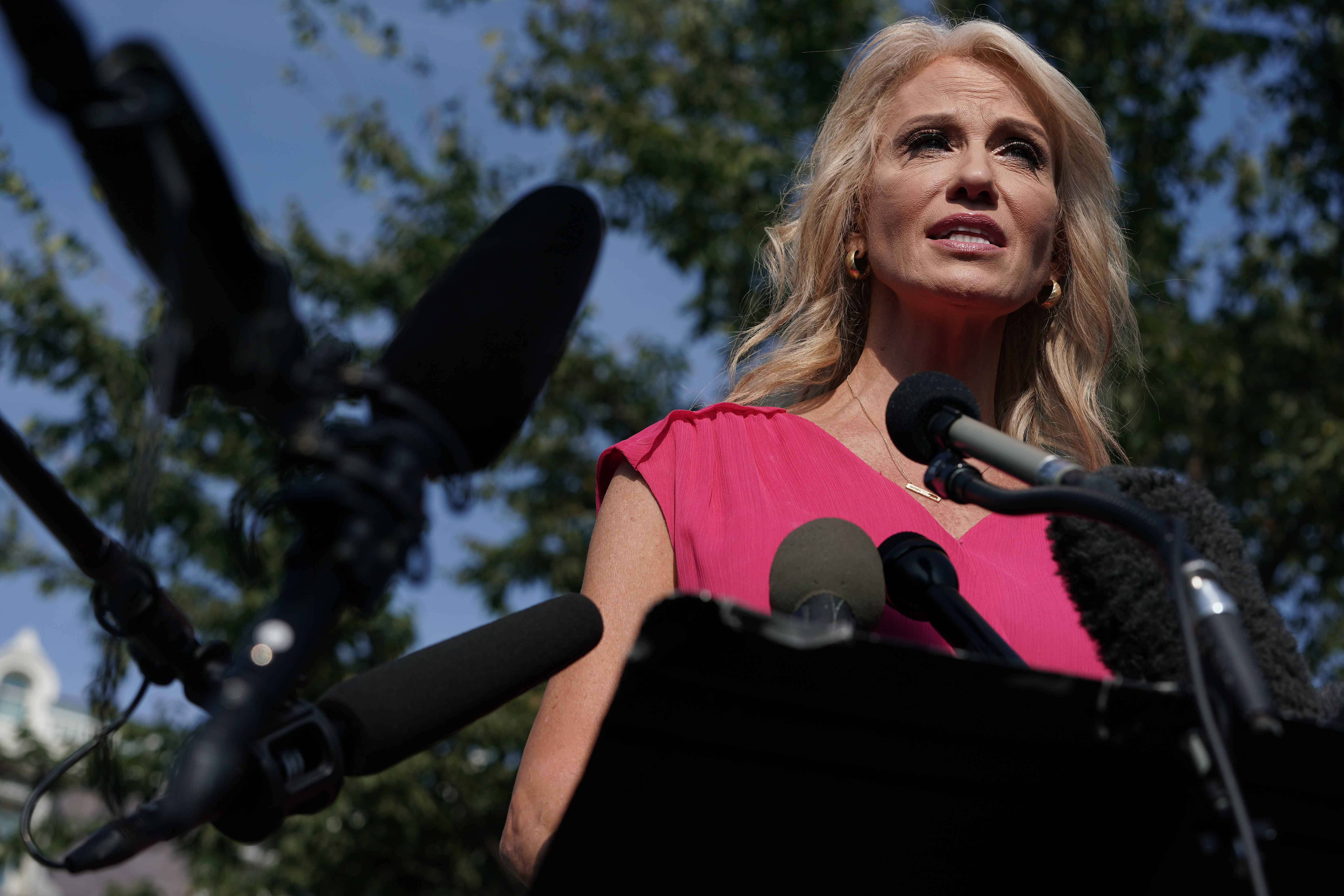 Kellyanne Conway speaks to members of the media outside the West Wing of the White House September 12, 2019 in Washington, D.C.