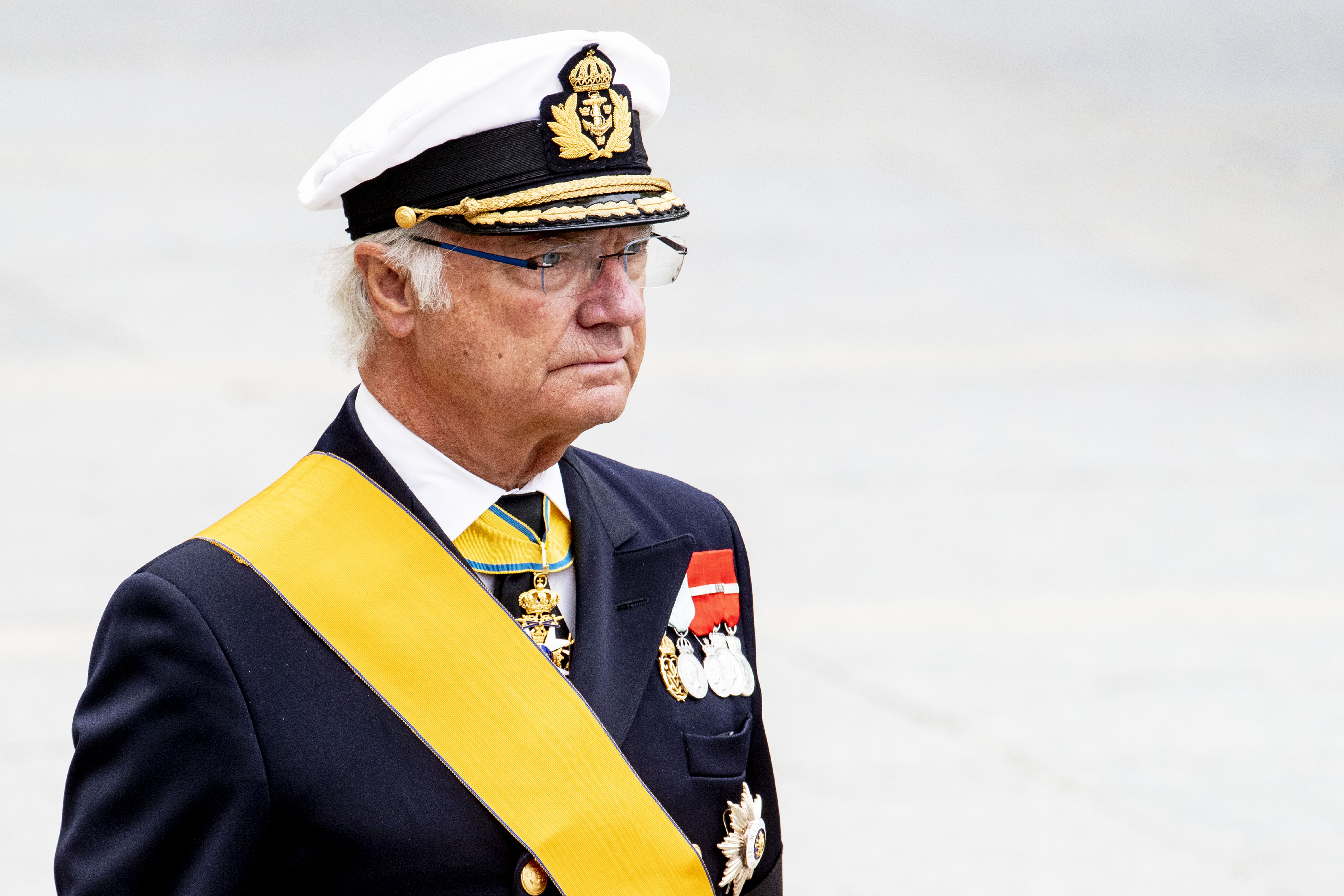 King Carl Gustaf of Sweden attend the funeral of Grand Duke Jean of Luxembourg on May 04, 2019 in Luxembourg.