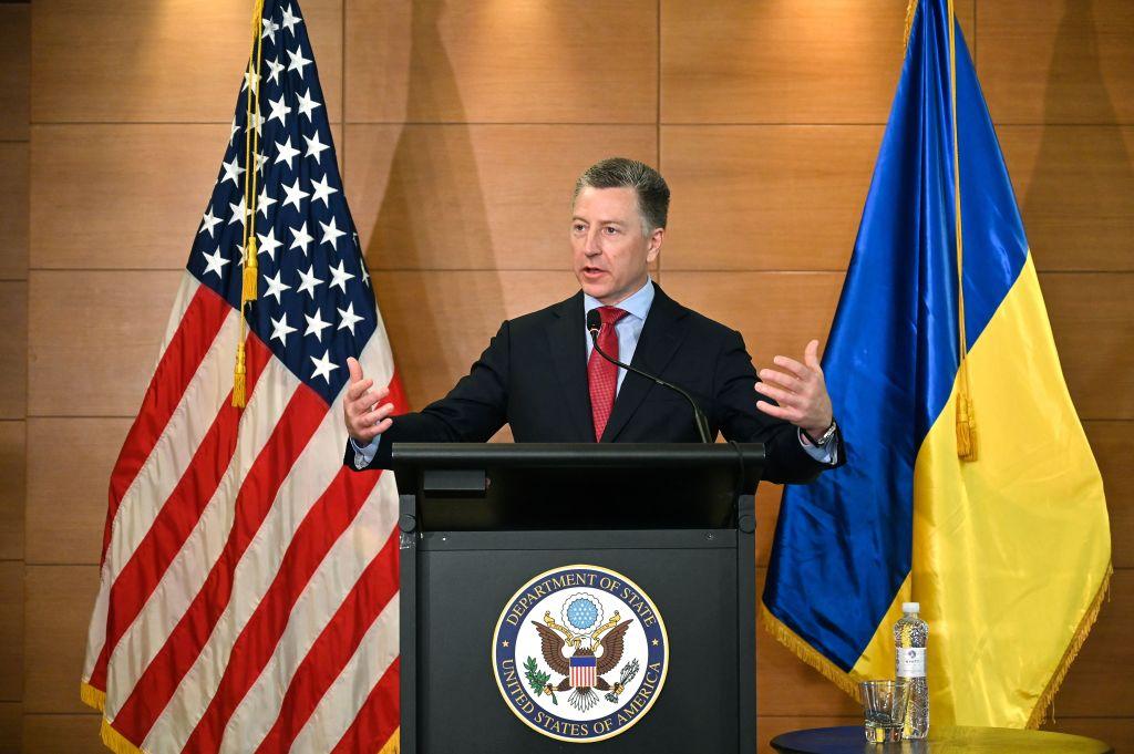 Former US special envoy for Ukraine Kurt Volker speaks during a press conference in Kiev on July 27, 2019.