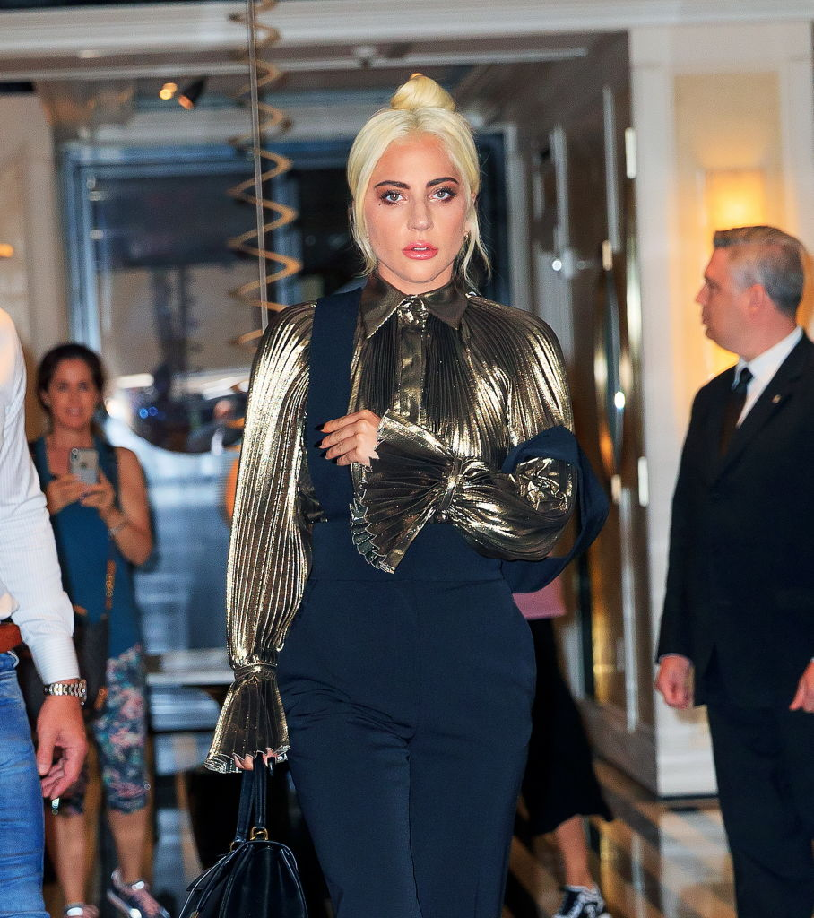 Lady Gaga checks out of her hotel on June 28, 2019 in New York City.