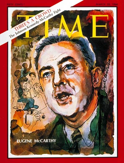 Senator Eugene McCarthy (D-MN) on the Mar. 22, 1968, cover of TIME.