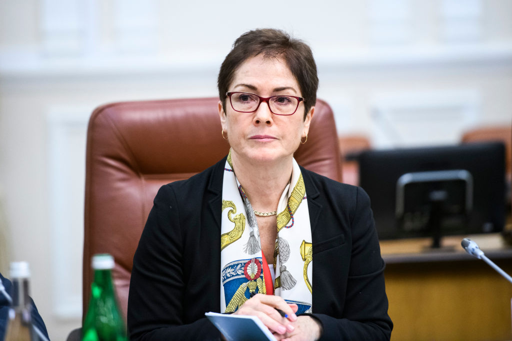 Former U.S. Ambassador to Ukraine Marie Yovanovitch during a meeting with former Prime Minister of Ukraine Volodymyr Groysman Kyiv, on Nov. 12, 2018
