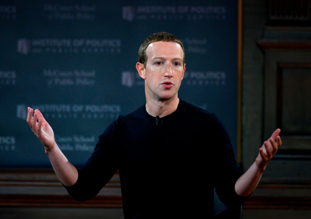 Facebook founder Mark Zuckerberg speaks at Georgetown University in a 'Conversation on Free Expression  in Washington, D.C. on October 17, 2019.
