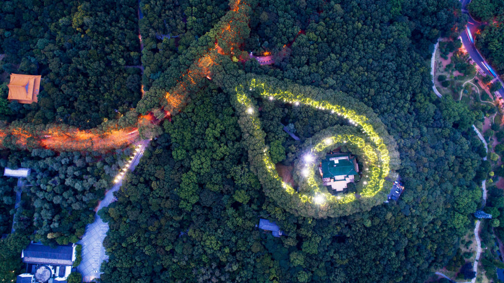 Aerial view of a light show in progress at May-ling palace during Qixi Festival at the Purple Mountain on August 7, 2019 in Nanjing, Jiangsu Province of China.