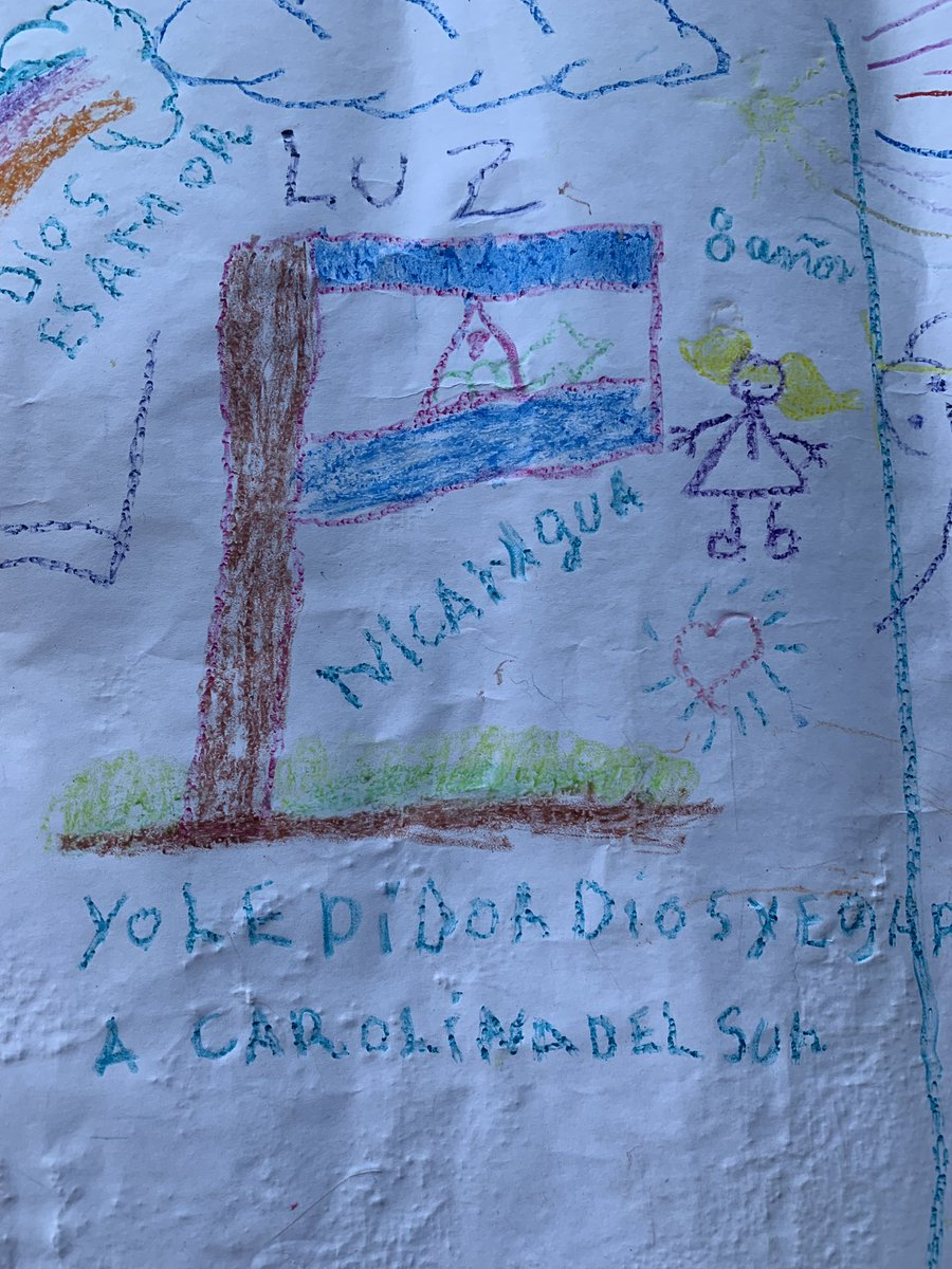 An 8-year-old girl writes  Yo le pido a Dios que llegamos a Carolina del Sur,  or  I ask God that we can get to South Carolina.  She is living in a tent encampment in Matamoros, across the border from Brownsville, Texas.