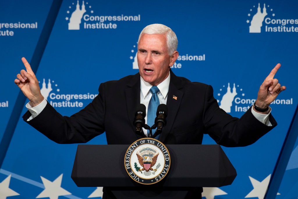 Vice President Mike Pence speaks at the 2019 House Republican Conference Member Retreat Dinner in Baltimore on Friday Sept. 13, 2019.