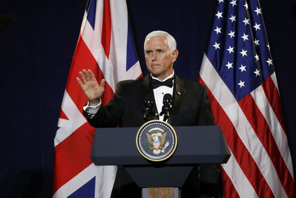 U.S. Vice President Mike Pence gestures while speaking during the International Trade Dinner at the Guildhall in London, U.K., on Thursday, Sept. 5, 2019.