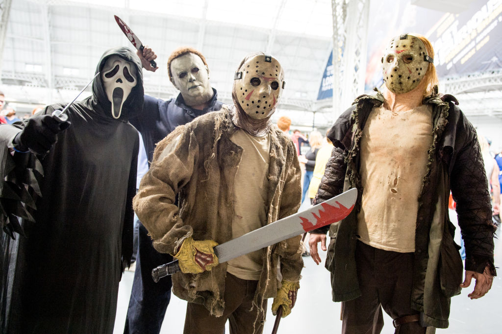A Horror cosplayer group consisting of Scream, Michael Myers from Halloween and two Jason Voorhees Friday 13th cosplayers seen in character during London Film and Comic Con 2019 at Olympia London on July 27, 2019 in London, England. (Photo by Ollie Millington/Getty Images)