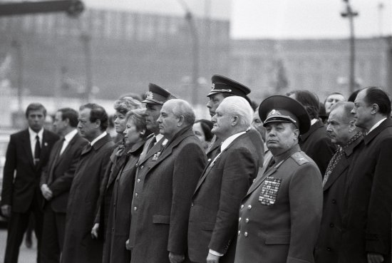 Gorbachev attends a rally in East Berlin celebrating the 40th anniversary of the G.D.R. in October 1989