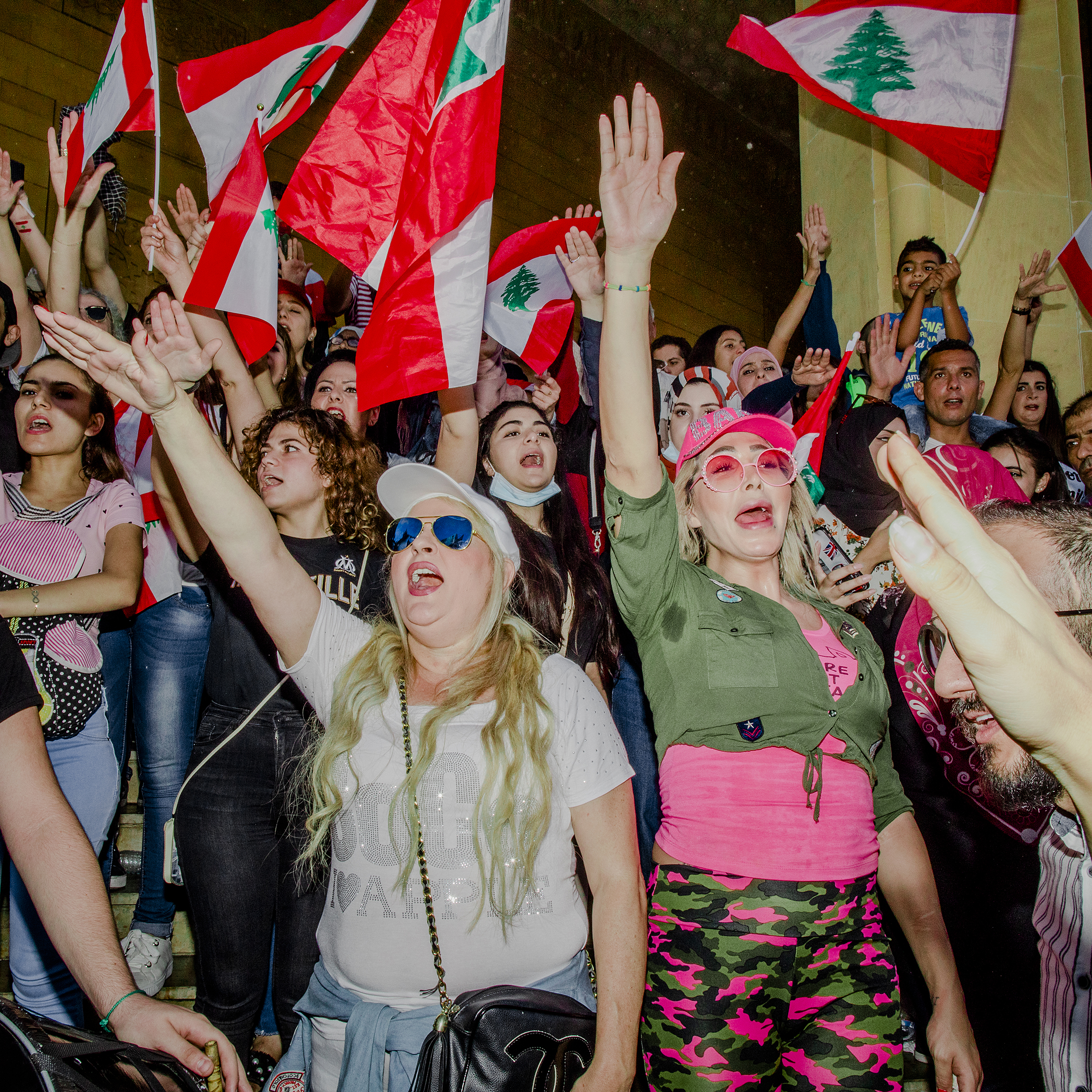 Crowd singing the national anthem at a protest in Beirut on Oct. 21, 2019.