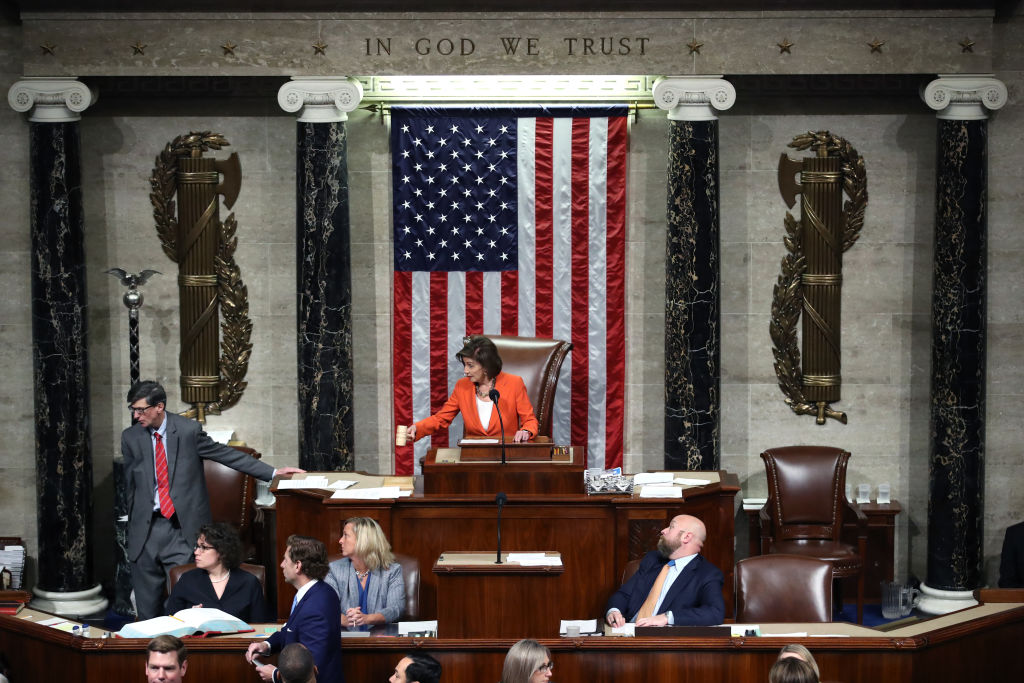 Speaker Pelosi presides over the U.S. House of Representatives as it votes on a resolution formalizing the impeachment inquiry centered on U.S. President Donald Trump in Washington, D.C., on Oct. 31, 2019.