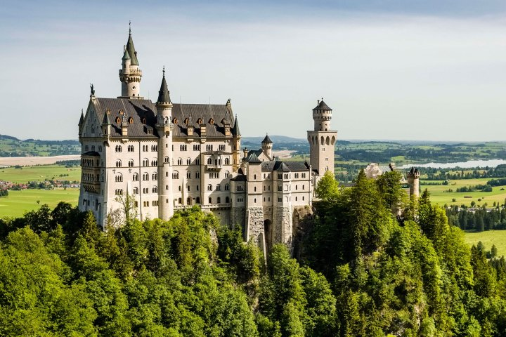 View of whole Neuschwanstein Castle in Germany
