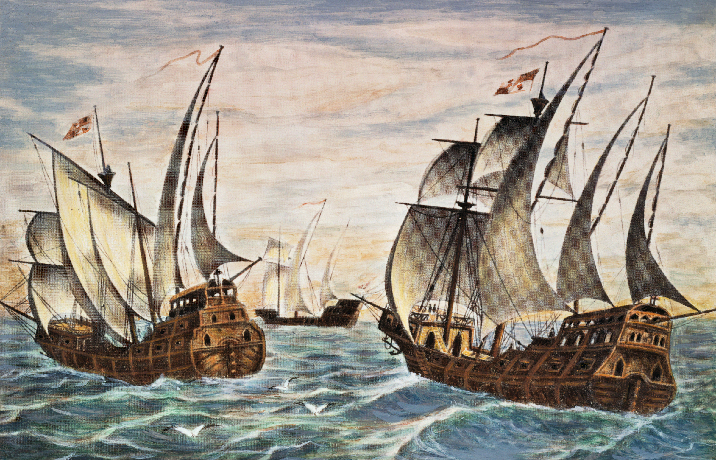Illustration of the Nina, Pinta and Santa Maria, the fleet of Christopher Columbus.