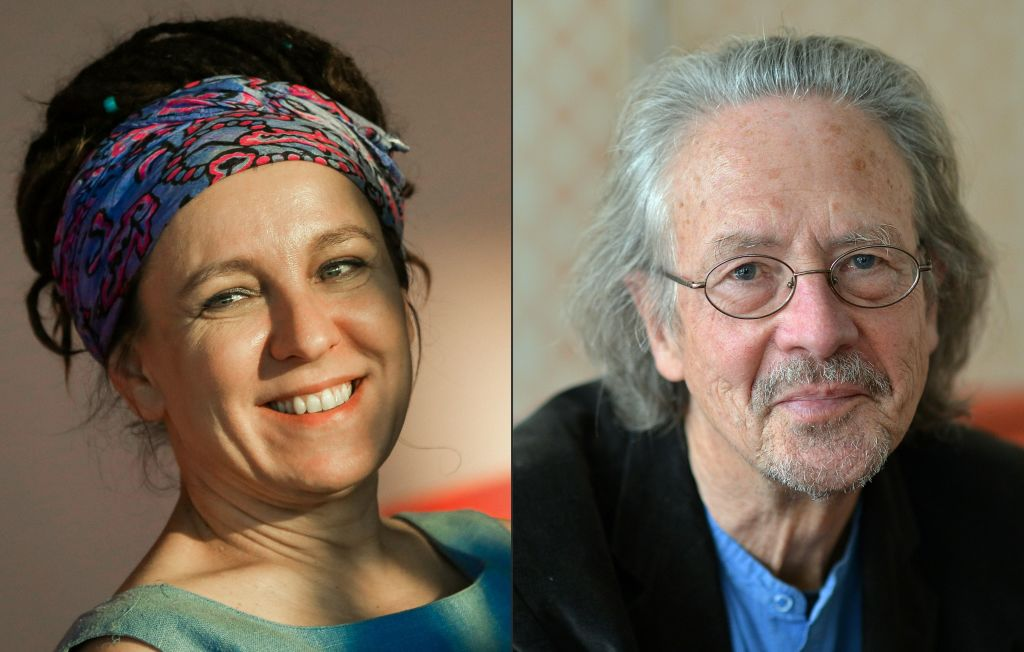 Polish author Olga Tokarczuk (L) and Austrian novelist and playwright Peter Handke (R). Tokarczuk on Oct. 10, 2019 won the 2018 Nobel Literature Prize, which was delayed over a sexual harassment scandal, while Handke took the 2019 award.