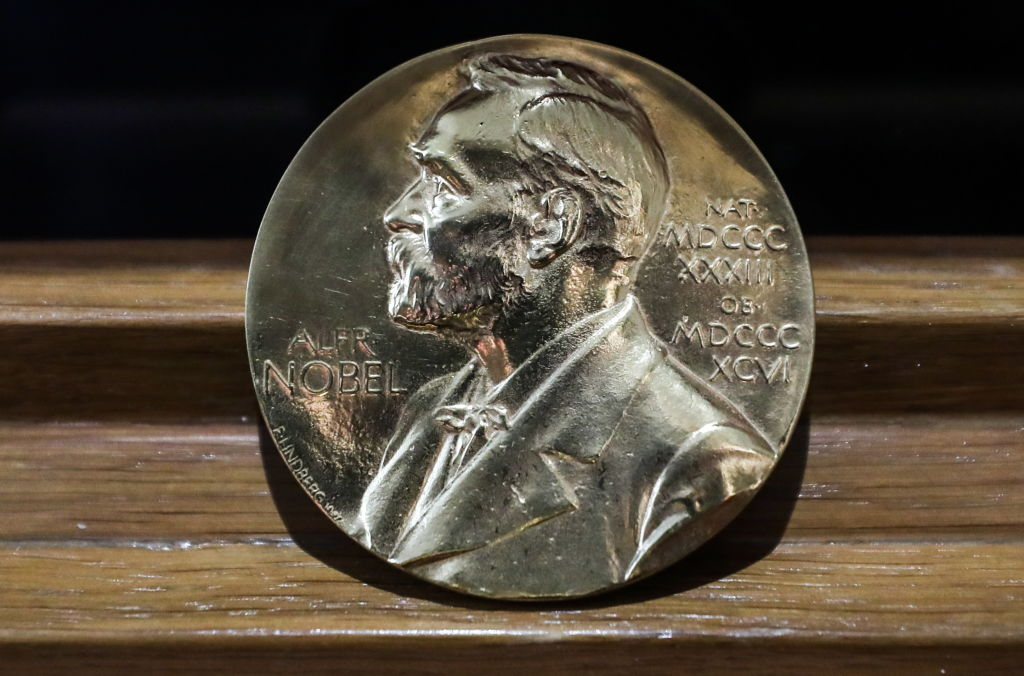 Writer Alexander Solzhenitsyn's Nobel Prize in Literature at the opening of Alexander Solzhenitsyn's apartment museum in Tverskaya Street.