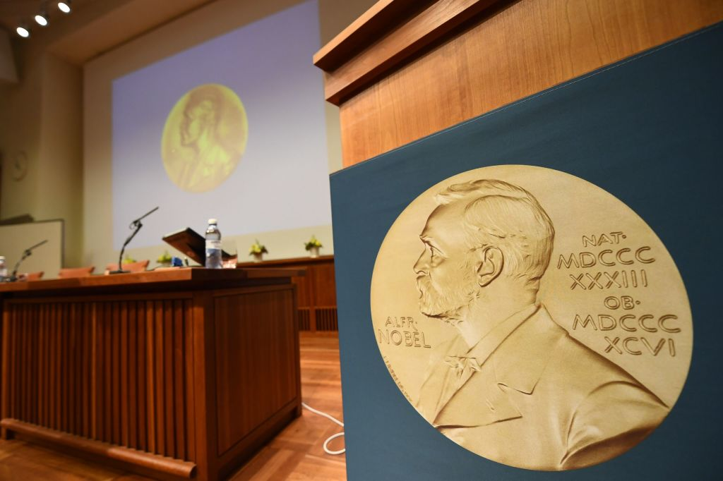 A medal of Alfred Nobel is pictured prior to the beginning of a press conference to announce the winner of the 2017 Nobel Prize in Medicine on October 2, 2017 at the Karolinska Institute in Stockholm.