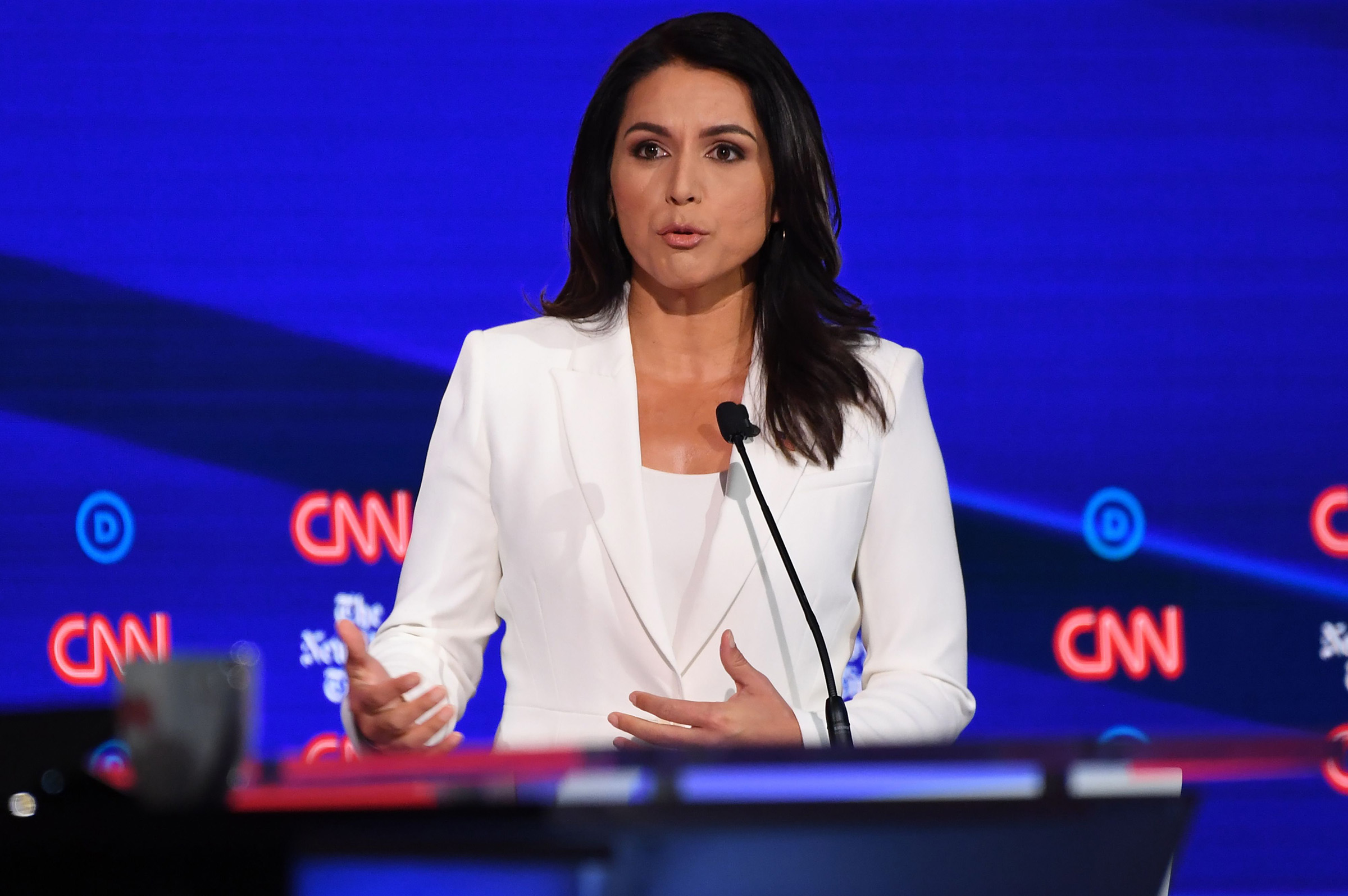 Representative for Hawaii Tulsi Gabbard speaks onstage during the fourth Democratic primary debate of the 2020 presidential campaign season in Westerville, Ohio on October 15, 2019.