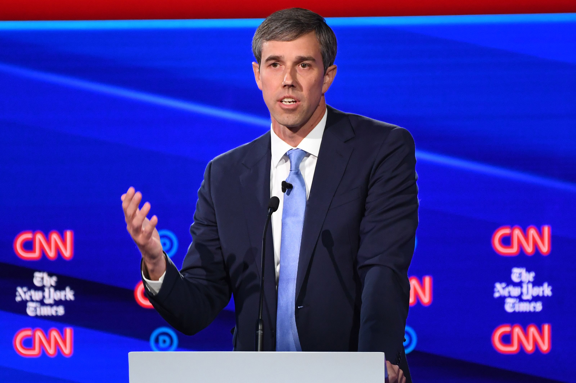Democratic presidential hopeful former Texas representative Beto O'Rourke speaks during the fourth Democratic primary debate of the 2020 presidential campaign season in Westerville, Ohio on Oct. 15, 2019.