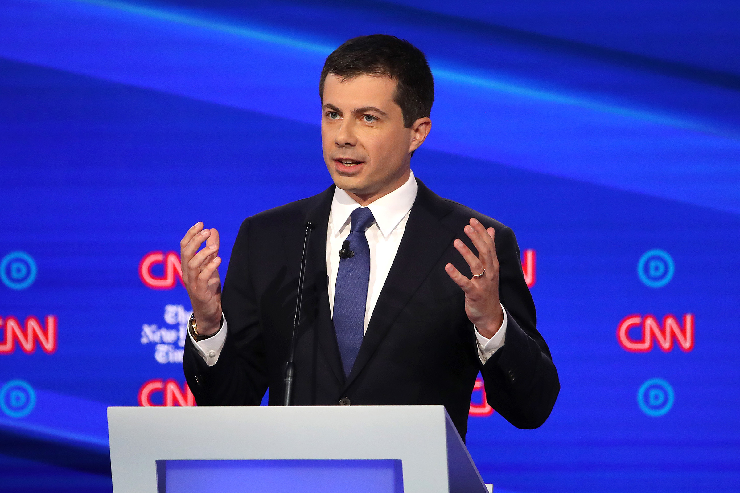 South Bend, Indiana Mayor Pete Buttigieg speaks during the Democratic Presidential Debate at Otterbein University on Oct. 15, 2019 in Westerville, Ohio.
