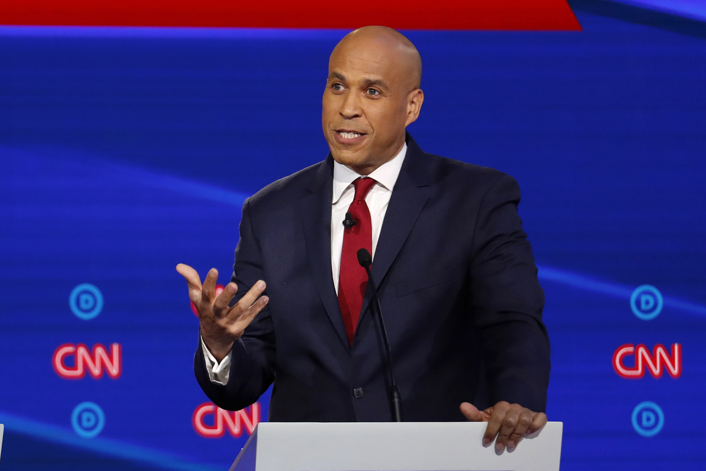 Democratic presidential candidate Sen. Cory Booker, D-N.J., speaks during a Democratic presidential primary debate at Otterbein University, on Oct. 15, 2019, in Westerville, Ohio.