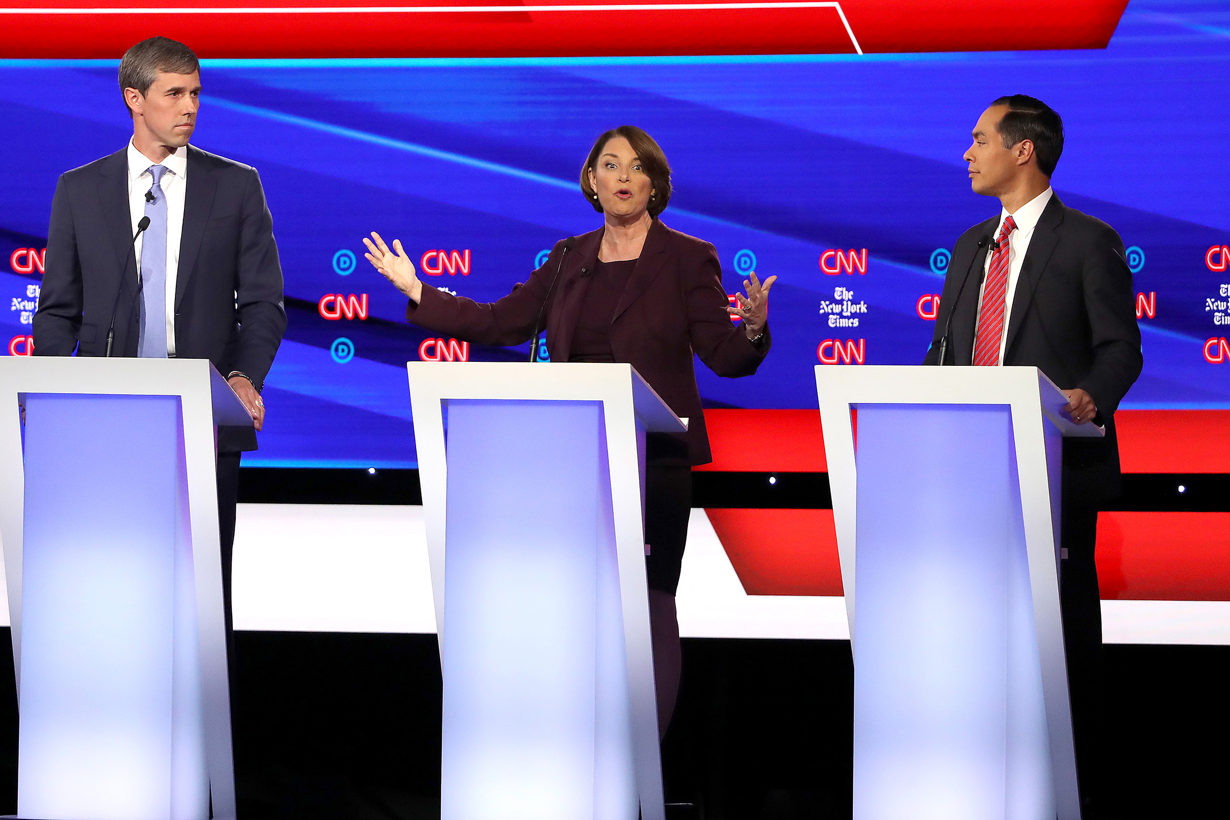(L-R) Former Texas congressman Beto O'Rourke, Sen. Amy Klobuchar (D-MN) and former housing secretary Julian Castro participate in the Democratic Presidential Debate at Otterbein University on Oct. 15, 2019 in Westerville, Ohio.