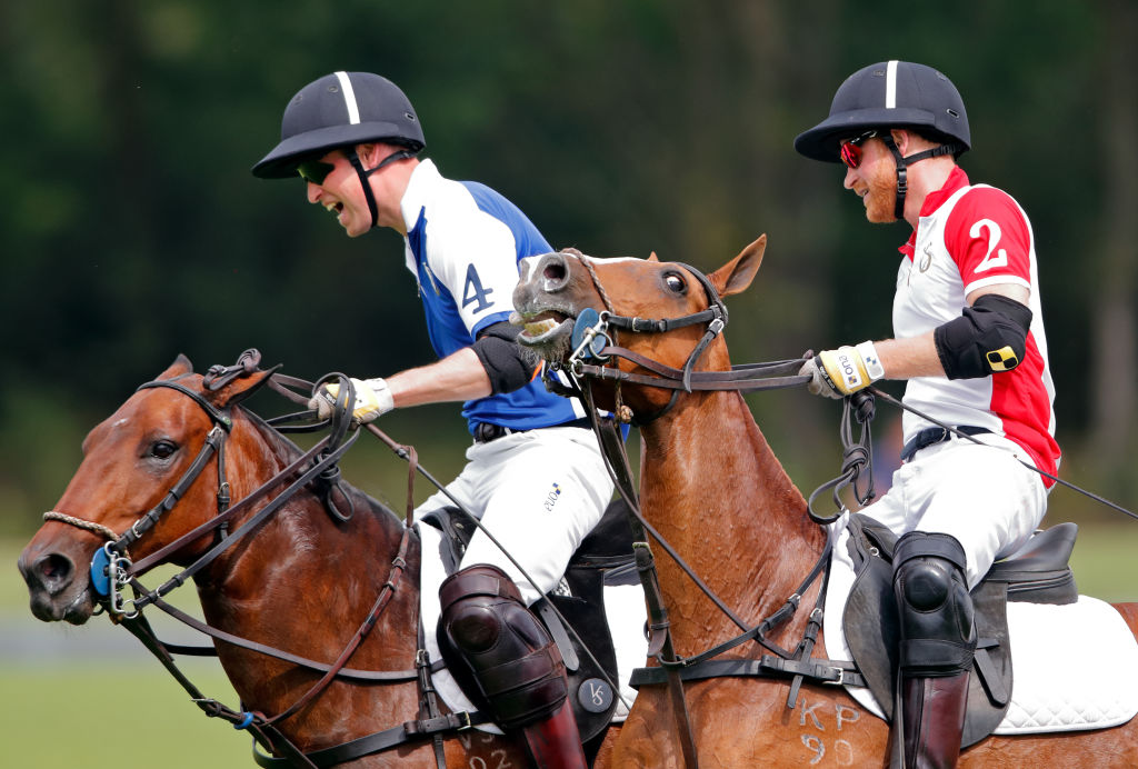 Prince William, Duke of Cambridge and Prince Harry, Duke of Sussex take part in the King Power Royal Charity Polo Match for the Khun Vichai Srivaddhanaprabha Memorial Polo Trophy at Billingbear Polo Club on July 10, 2019 in Wokingham, England.
