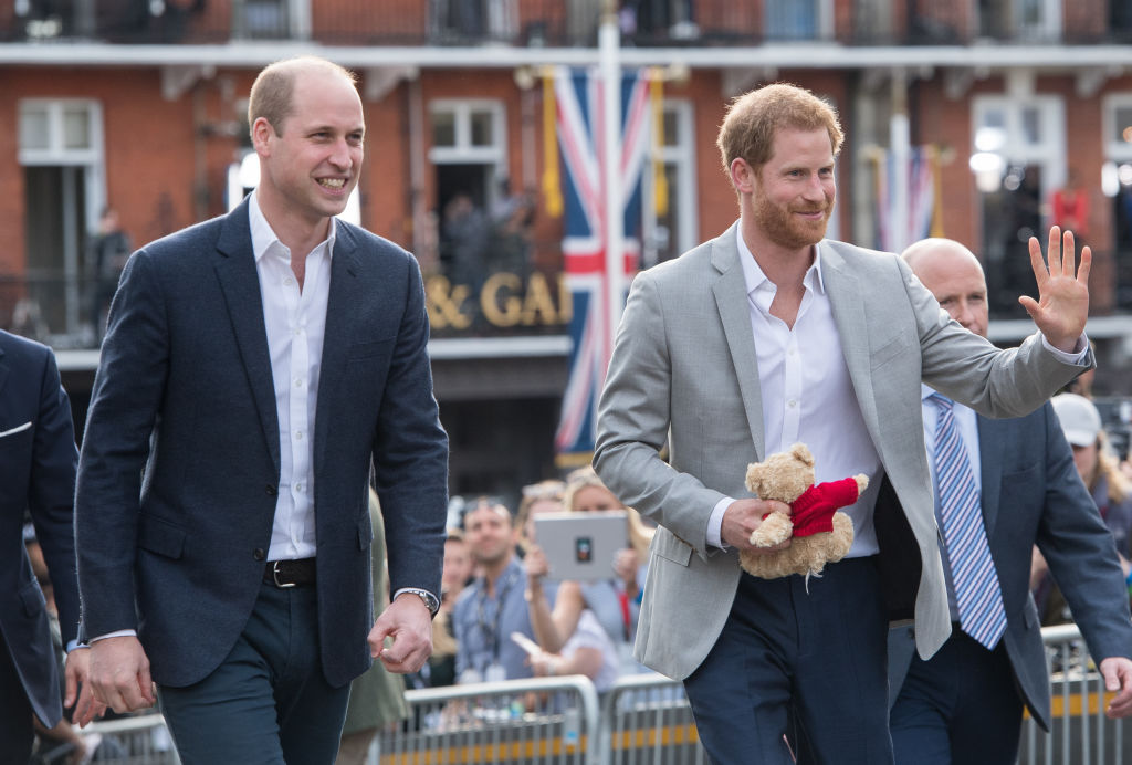Prince Harry and Prince William meet the public in Windsor on the eve of the wedding at Windsor Castle on May 18, 2018 in Windsor, England.