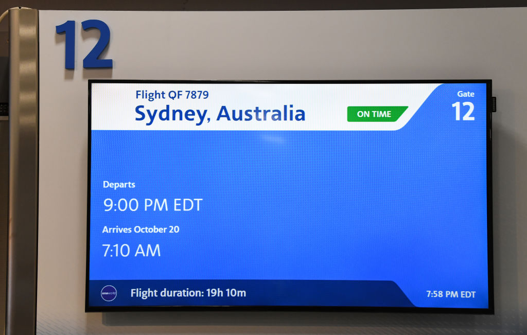 Flight departure screens at JFK airport for QF7879 on Oct. 18, 2019 in New York, NY. Qantas is the first commercial airline to ever fly direct from New York to Sydney.