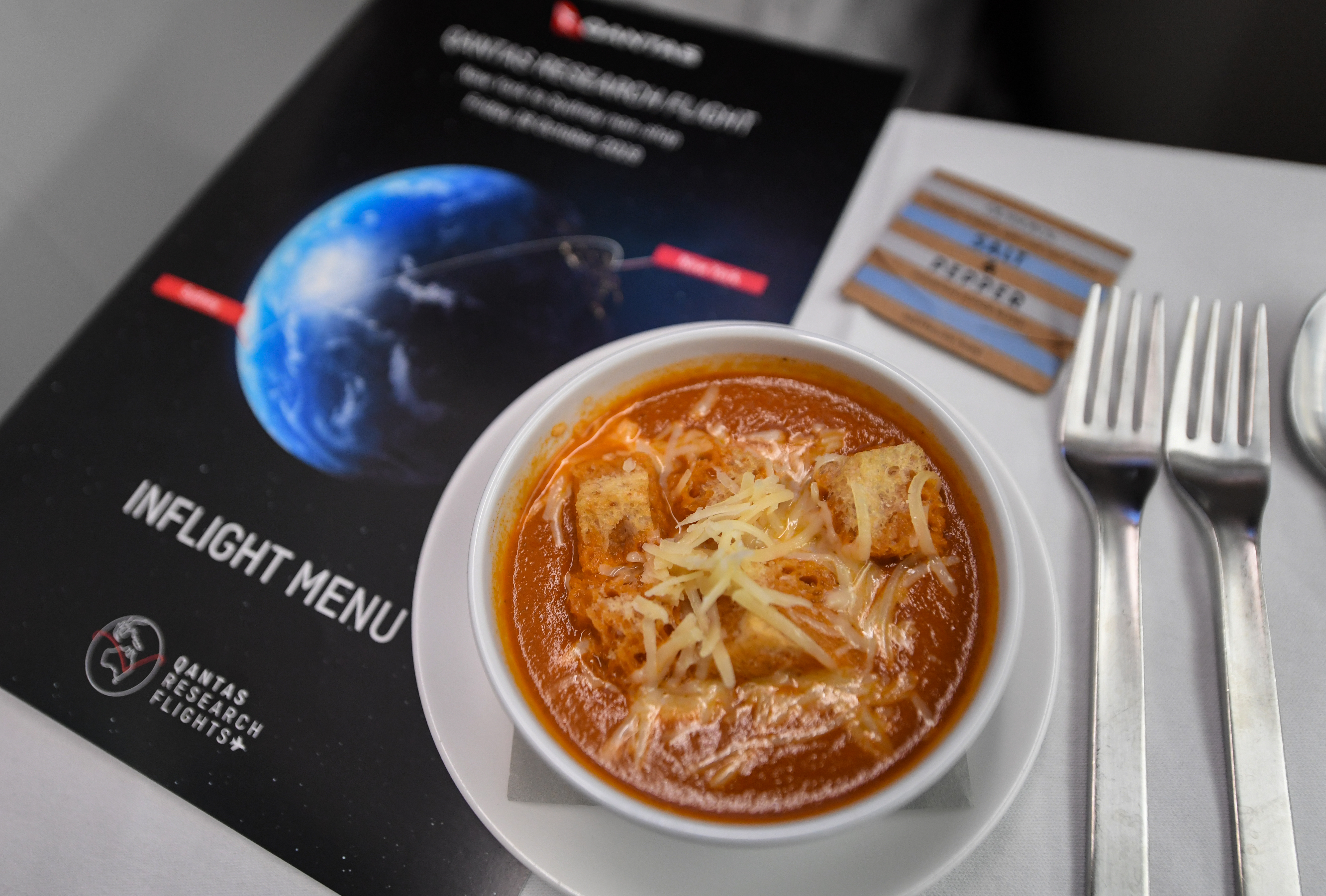 Food being served onboard QF7879 on Oct. 19, 2019 in Sydney, Australia.