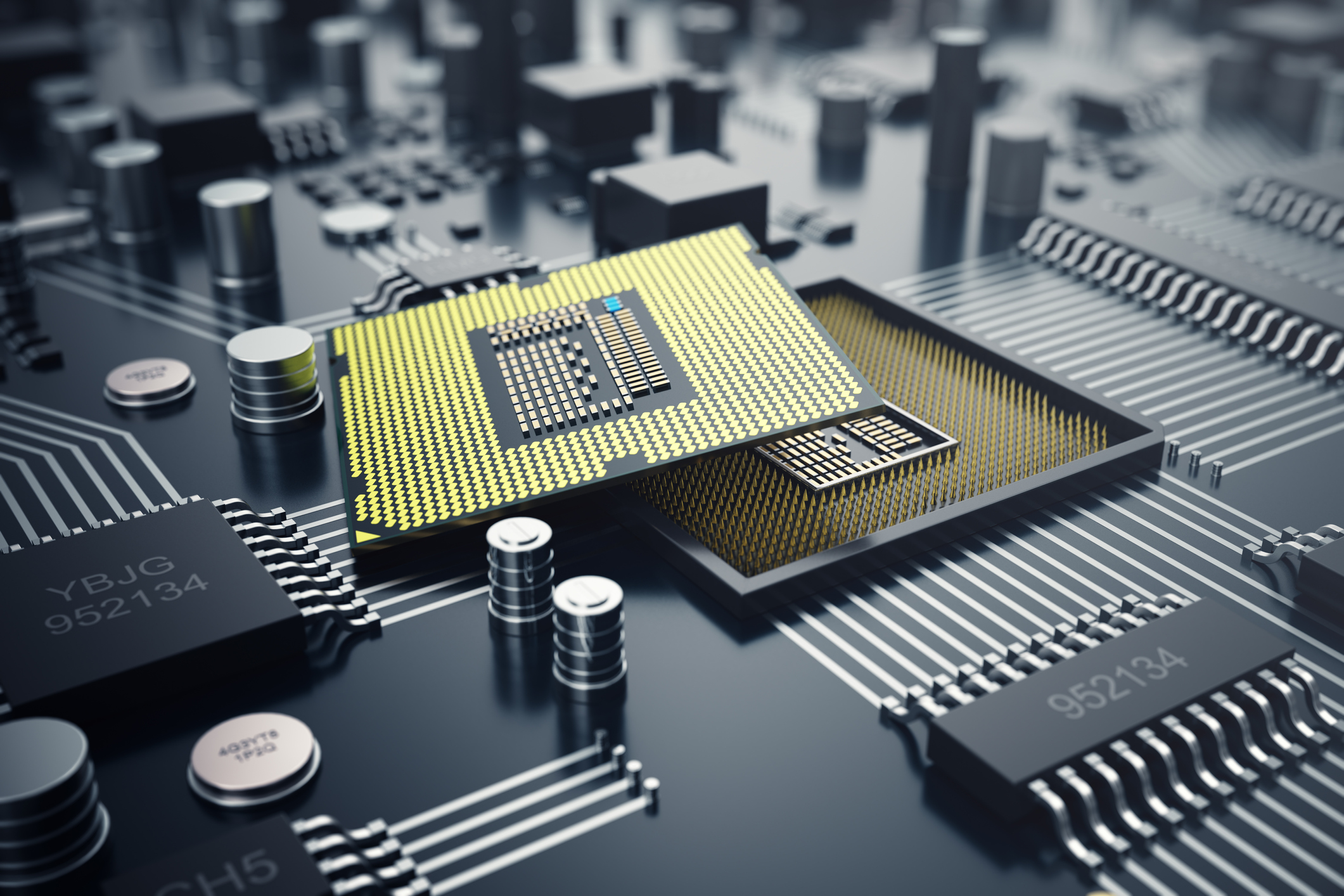 3D rendering of a CPU.