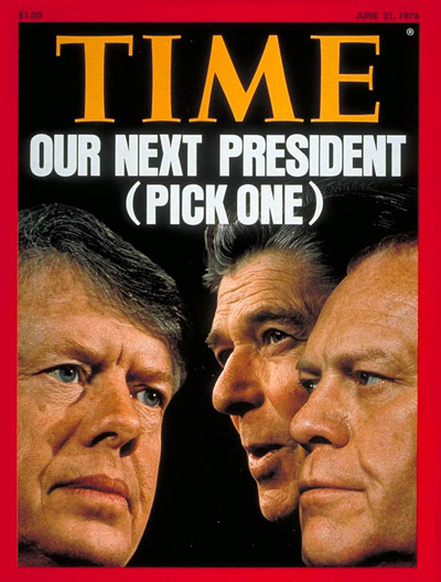 From left: Jimmy Carter, Ronald Reagan, and Gerald Ford, on the June 21, 1976, cover of TIME