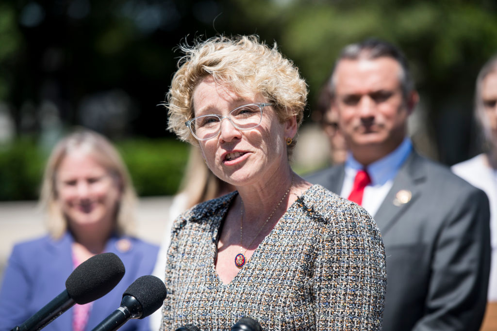 Rep. Chrissy Houlahan, D-Pa., speaks during the press conference outside the Capitol to launch the Servicewomen & Women Veterans Congressional Caucus on Wednesday, May 15, 2019.