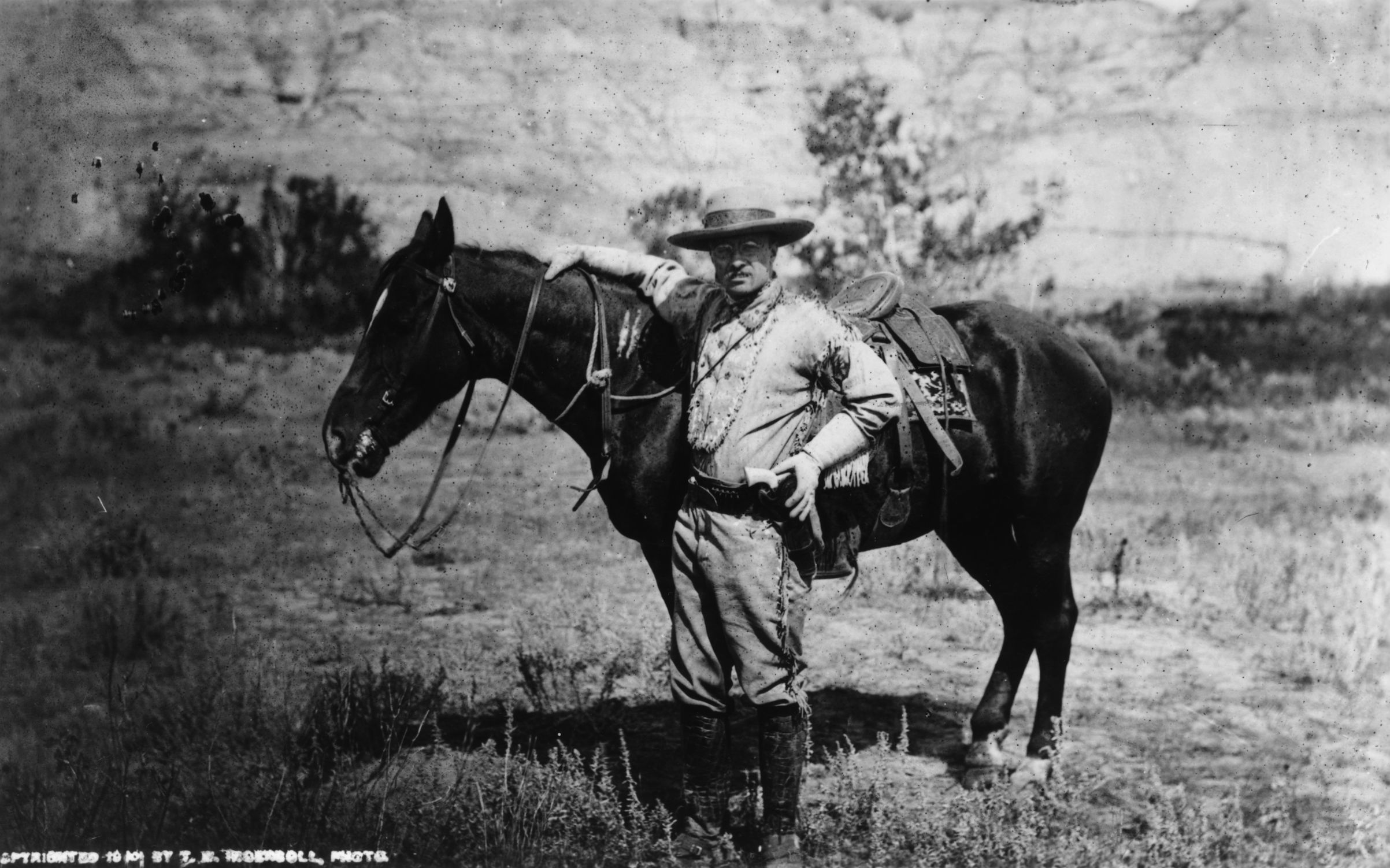 American politician and future President of the United States of America, Theodore Roosevelt (1858 - 1919) during a visit to the Badlands of Dakota after the death of his first wife, in 1885.