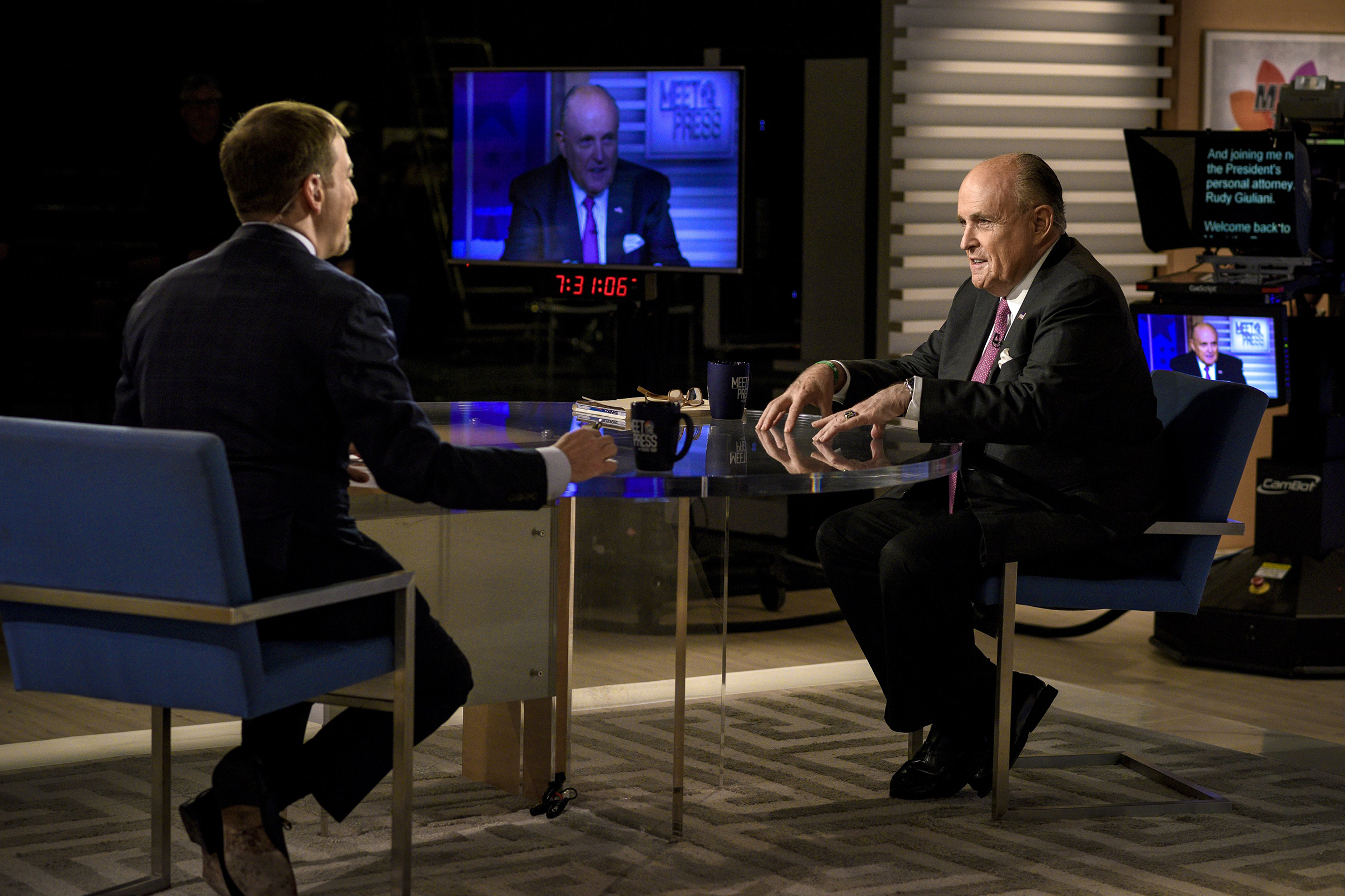 Rudy Giuliani, a personal lawyer for President Trump, appears on  Meet the Press  in Washington, D.C., on April 21, 2019.