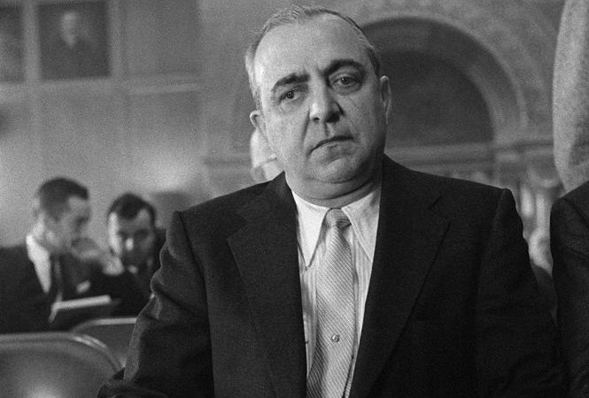 Russell Bufalino appears before the legislative watch dog committee during hearings in the Capitol on the Apalachin, New York, crime congress. In his January 9th appearance Bufalino used the Fifth Amendment to avoid questions on the meetings.