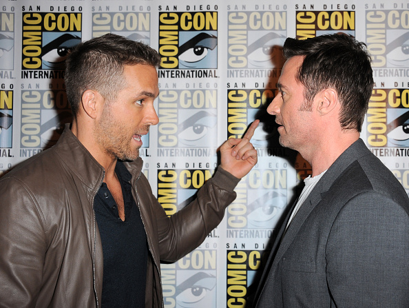 Ryan Reynolds and Hugh Jackman attend the 20th Century FOX panel during Comic-Con International 2015 at the San Diego Convention Center in San Diego, California  on July 11, 2015.