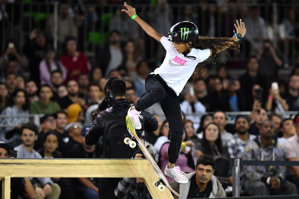 Brazilian skateboarder Rayssa Leal competes in the Street League Skateboarding world championship women's final in Sao Paulo, Brazil, on September 22, 2019.