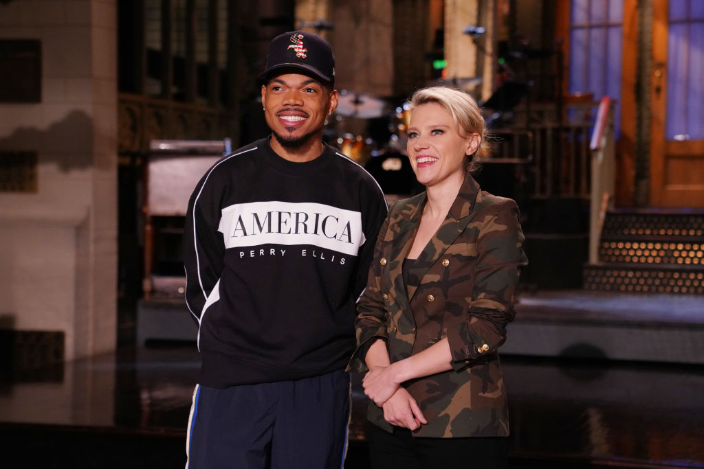 SNL Host Chance The Rapper and Kate McKinnon are shown during Promos in Studio 8H on Thursday, October 24, 2019.