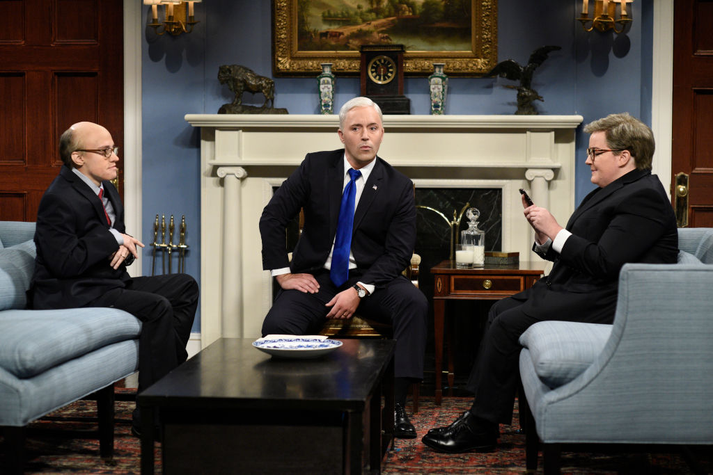 Kate McKinnon as Rudy Giuliani, Beck Bennett as Mike Pence, and Aidy Bryant as Bill Barr are shown on Saturday Night Live's cold open on Oct. 5, 2019.