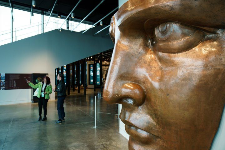 The face of the Statue of Liberty inside the museum.
