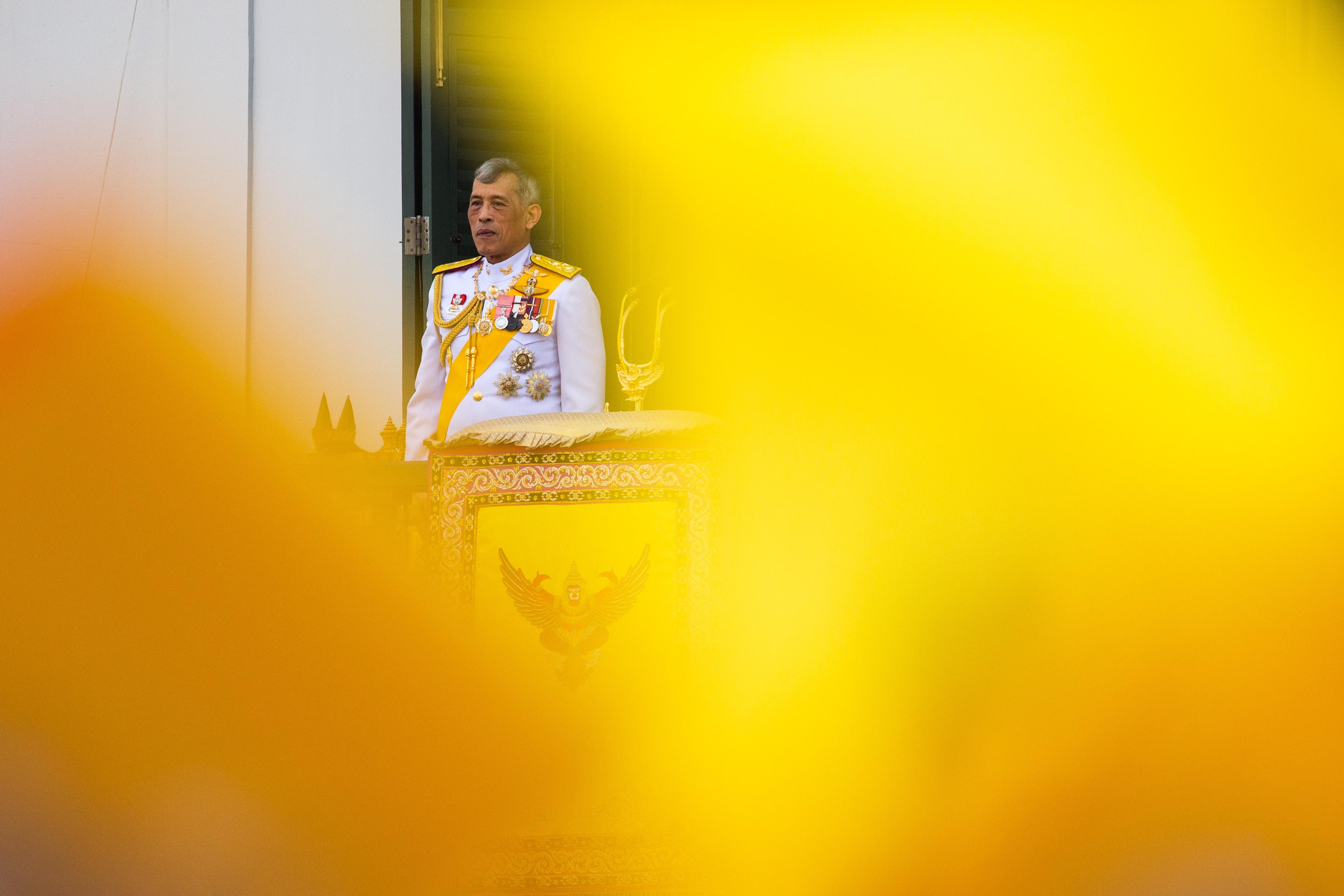 King Maha Vajiralongkorn addresses the public on a balcony of Suddhaisavarya Prasad Hall in the Grand Palace on May 6, 2019 in Bangkok, Thailand.