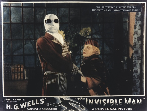 The Invisible Man, lobbycard, from left: Claude Rains, Gloria Stuart, 1933.