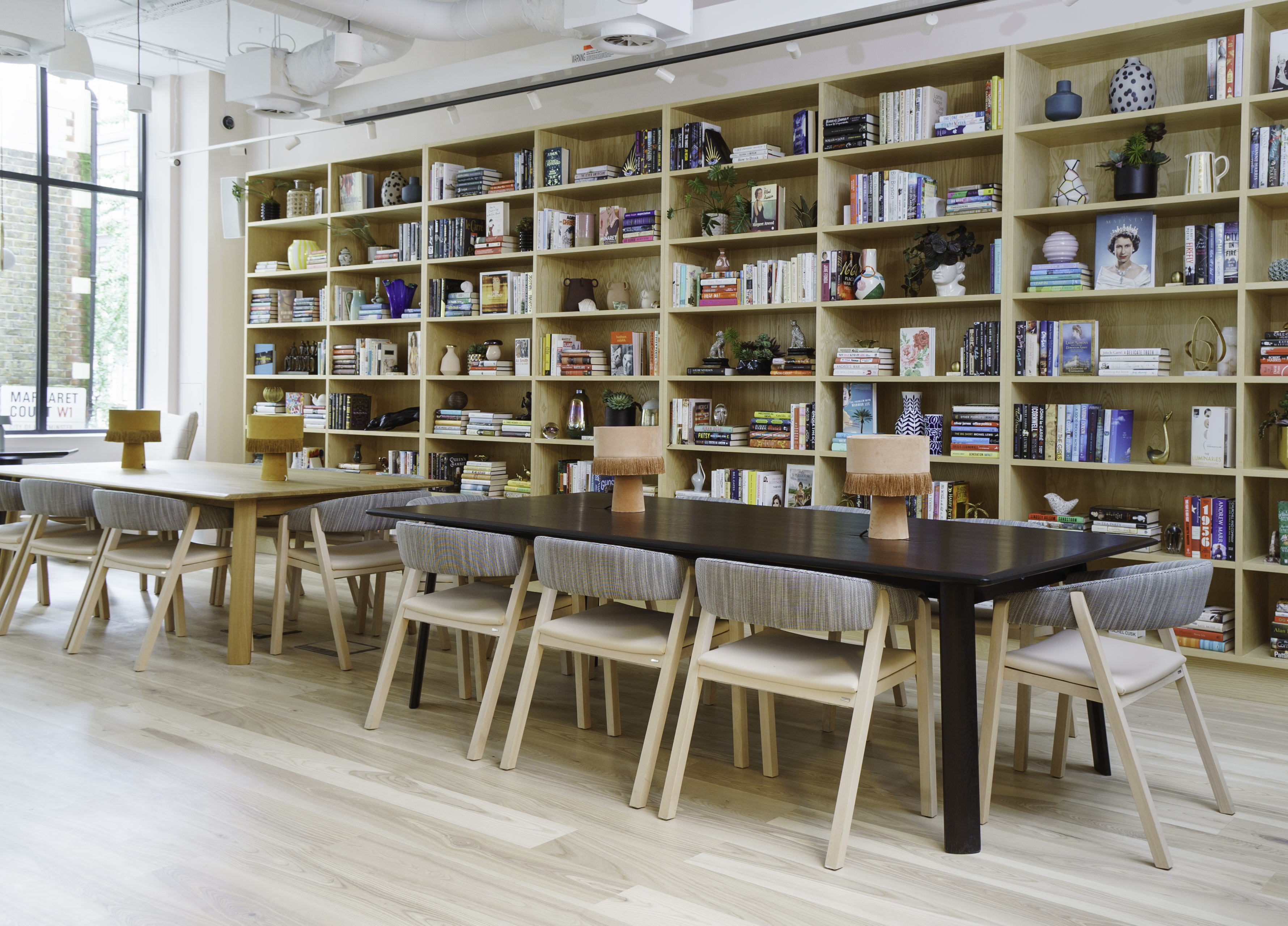 The Ladies Library and a co-working area at The Wing's new London location.