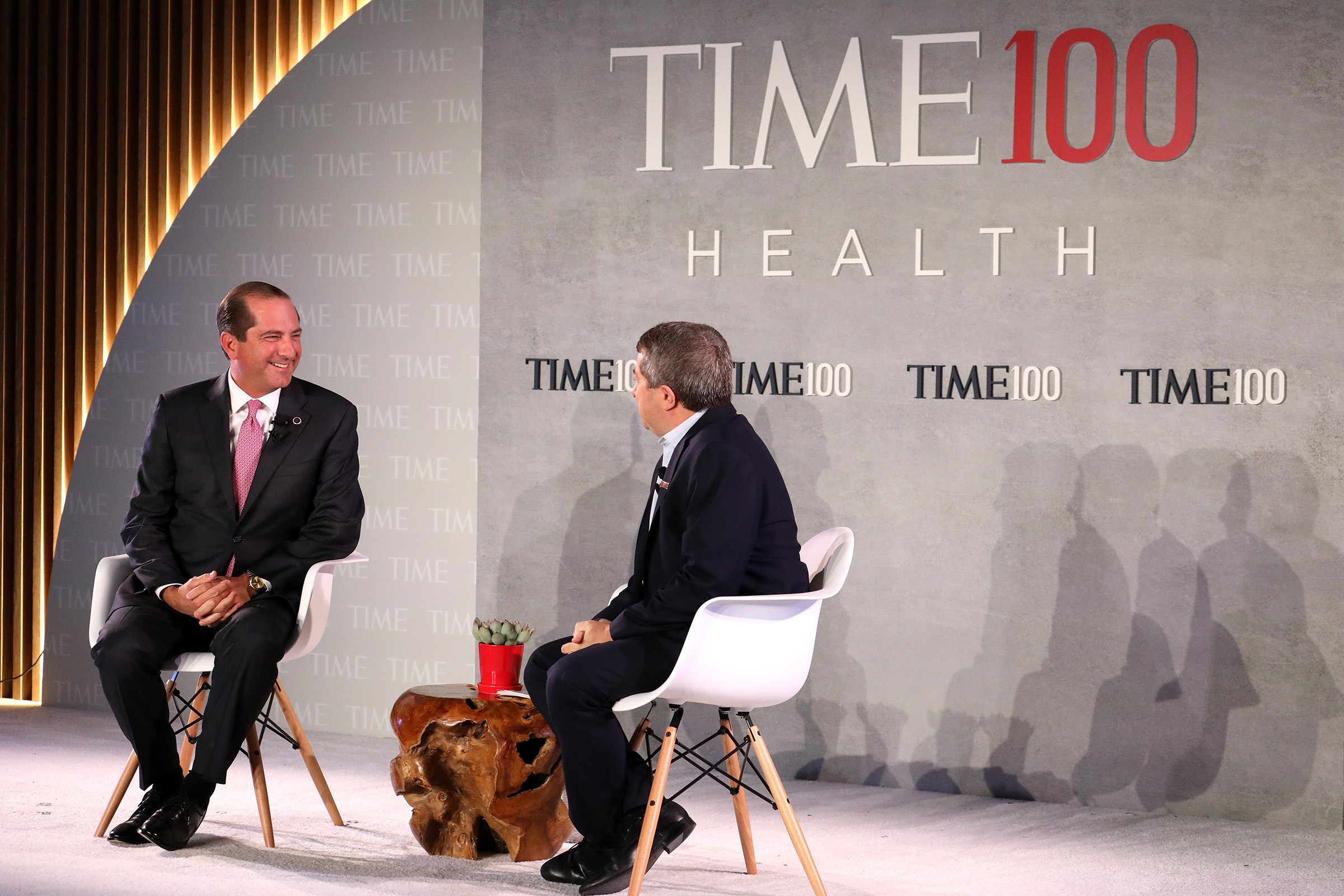 United States Secretary of Health and Human Services, Alex Azar (L), speaks with Editor-in-Chief & CEO at TIME, Edward Felsenthal, onstage during the TIME 100 Health Summit at Pier 17 on October 17, 2019 in New York City.