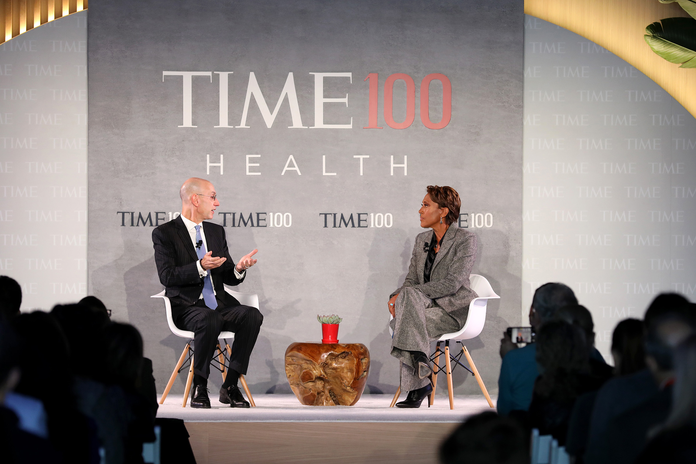 Commissioner of the NBA, Adam Silver (L), speaks with news broadcaster, Robin Roberts, onstage during the TIME 100 Health Summit at Pier 17 in New York City on Oct. 17, 2019.