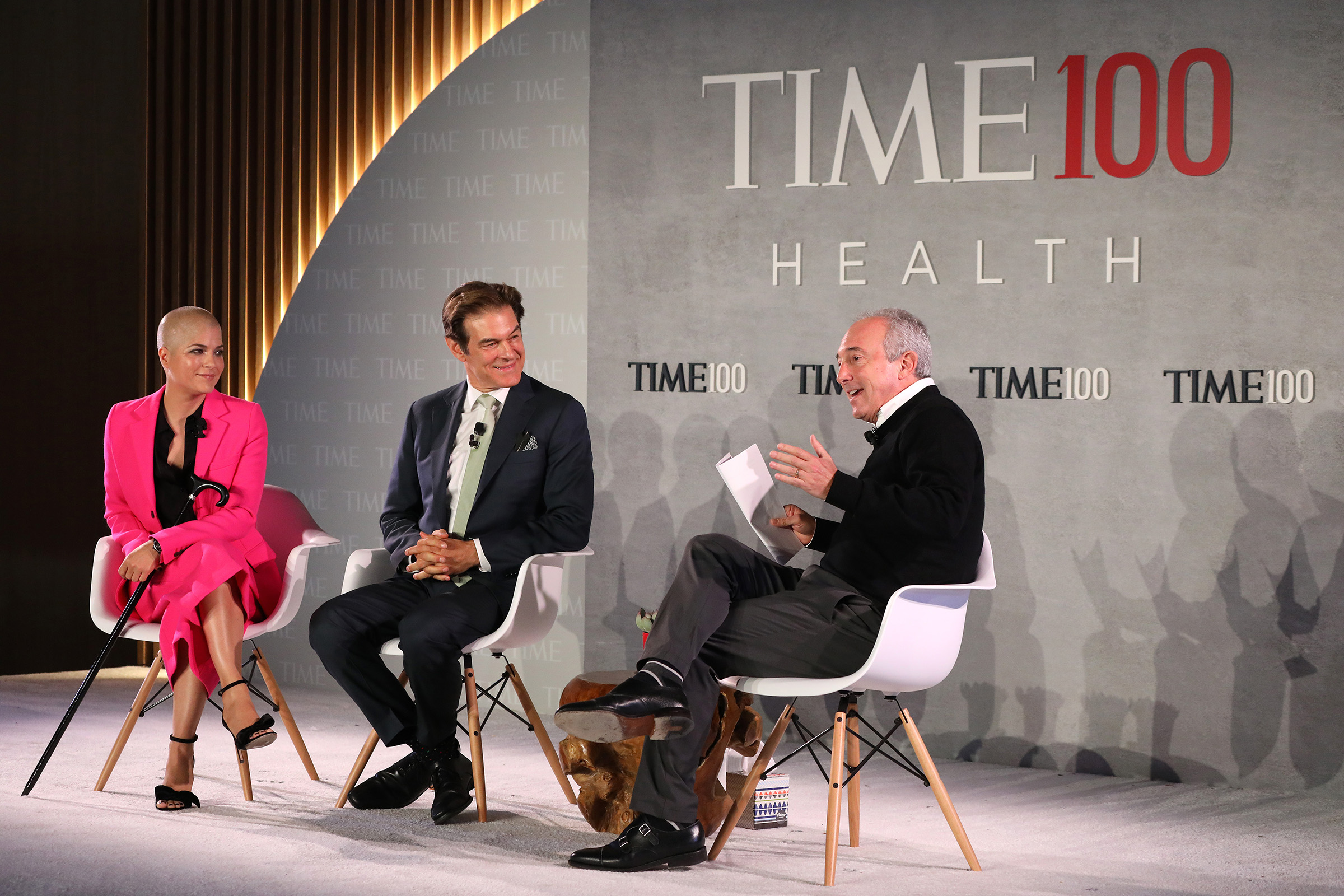(L-R) Actor Selma Blair, Dr. Mehmet Oz and Dr. David Agus speak onstage during the TIME 100 Health Summit at Pier 17 in New York City on Oct. 17, 2019.