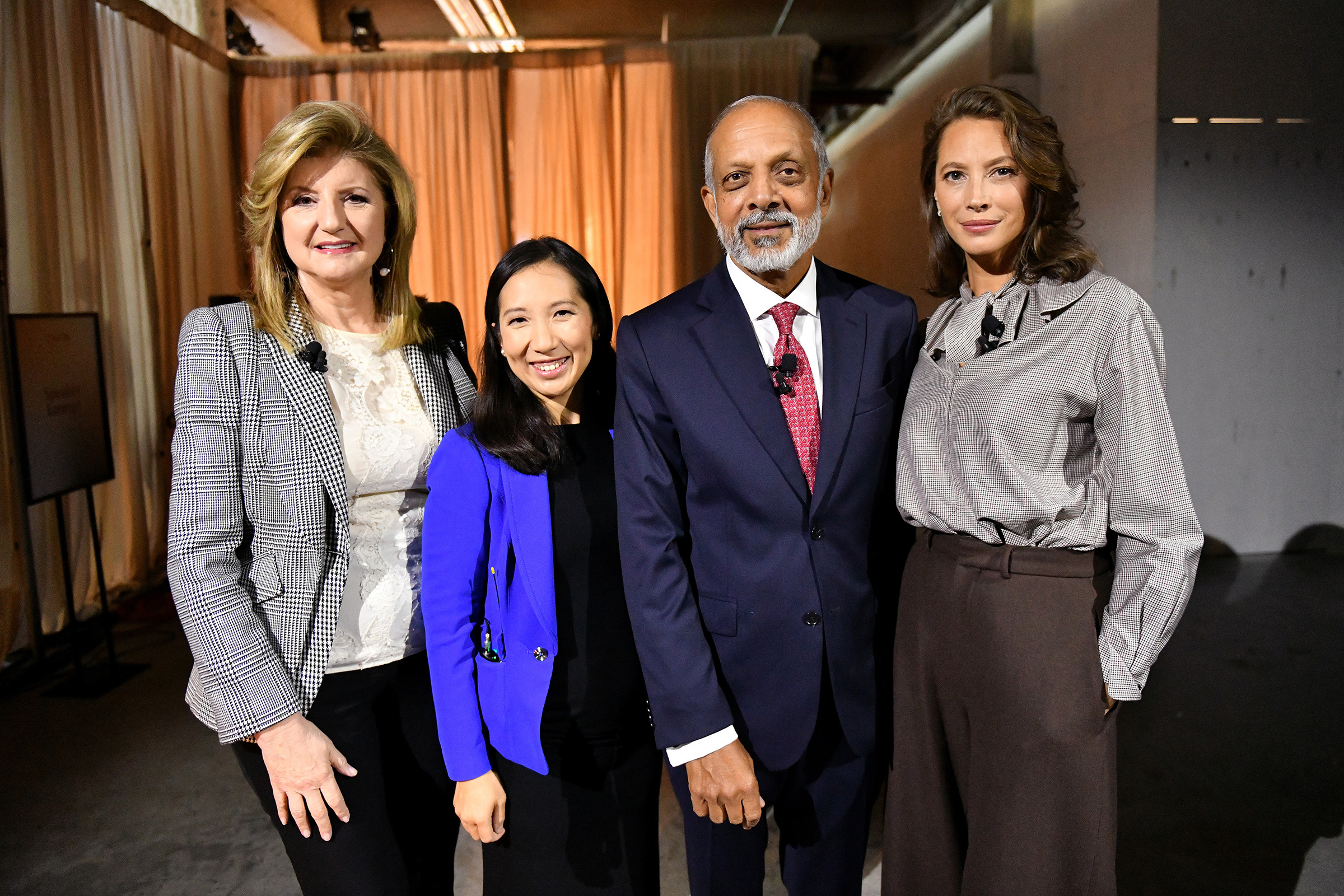 (L-R) Arianna Huffington, Dr. Leana Wen, Dr. Naveen Rao and Christy Turlington Burns pose backstage during the TIME 100 Health Summit at Pier 17 in New York City on Oct. 17, 2019.