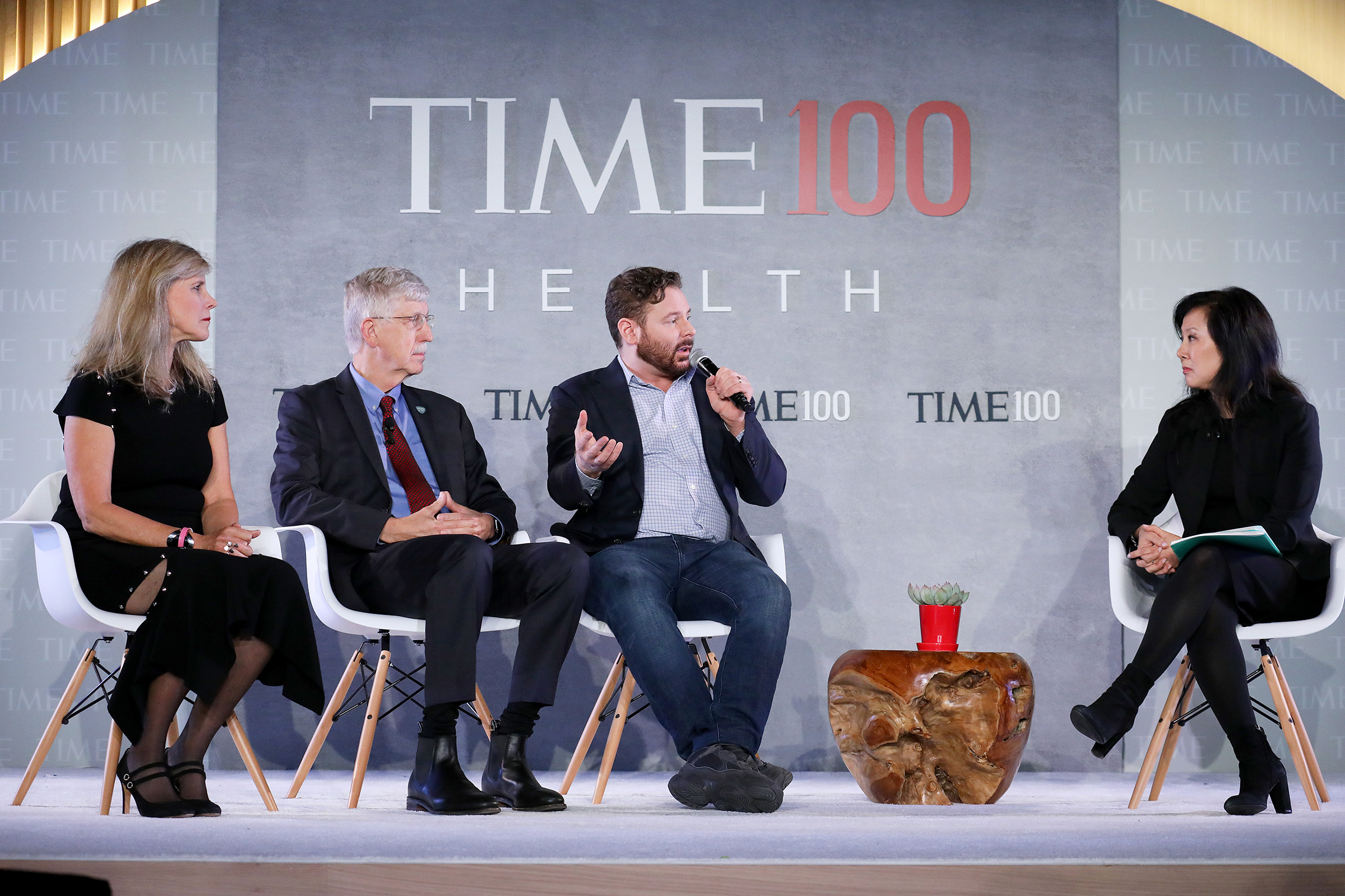 (L-R) Professor of Surgery at UCSF School of Medicine, Dr. Laura Esserman, Director at National Institutes of Health, Dr. Francis Collins, Entrepreneur & Philanthropist Sean Parker,  and Senior Health Writer for TIME and TIME 100 Health Summit Co-Chair, Alice Park, speak onstage during the TIME 100 Health Summit at Pier 17 in New York City on Oct. 17, 2019.